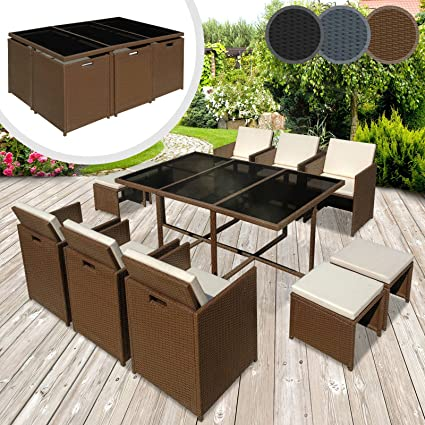 Miadomodo Polyrattan Garden Furniture Dining Set (Choice of Colour and Set) Outdoor Patio Glass Table and Chairs Set incl. Stools and Seat Cushions (11 pc, Brown)