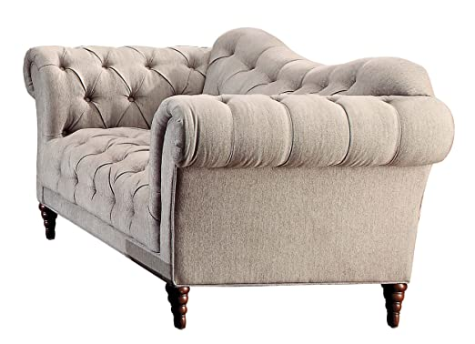 Homelegance Chesterfield Traditional Style Love Seat with Tufting and Rolled Arm Design, Brown/Almond