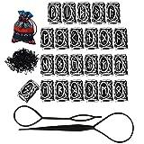 Hanpabum 24Pcs Vikings Runes Beads and Rubber Bands Black Fashion Hair Accessories for Women Men Braiding Bracelet Necklace DIY (Color: Black)
