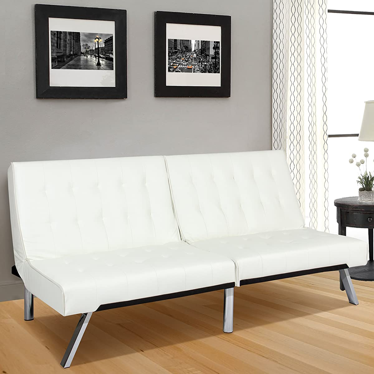 Best Choice Products Modern Leather Futon Sofa Bed Fold Up ...