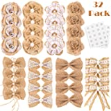 Whaline 32Pcs Burlap Flowers and Burlap Bowknots Set, Including Vintage Burlap Rose Flowers, Jute Twine Burlap Flowers, Pearl Burlap Flowers, Bowknots, 8 Styles for DIY Craft Wedding Party Gift Decor (Color: Style 3)