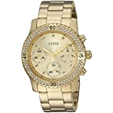 GUESS Women's U0851L2 Sporty Gold-Tone Watch with Gold Dial , Crystal-Accented Bezel and Stainless Steel Pilot Buckle