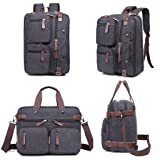 Laptop Bag, Clean Vintage Hybrid Backpack Messenger Bag/Convertible Briefcase Backpack Satchel Men Women/BookBag Rucksack Daypack-Waxed Canvas Leather, Black