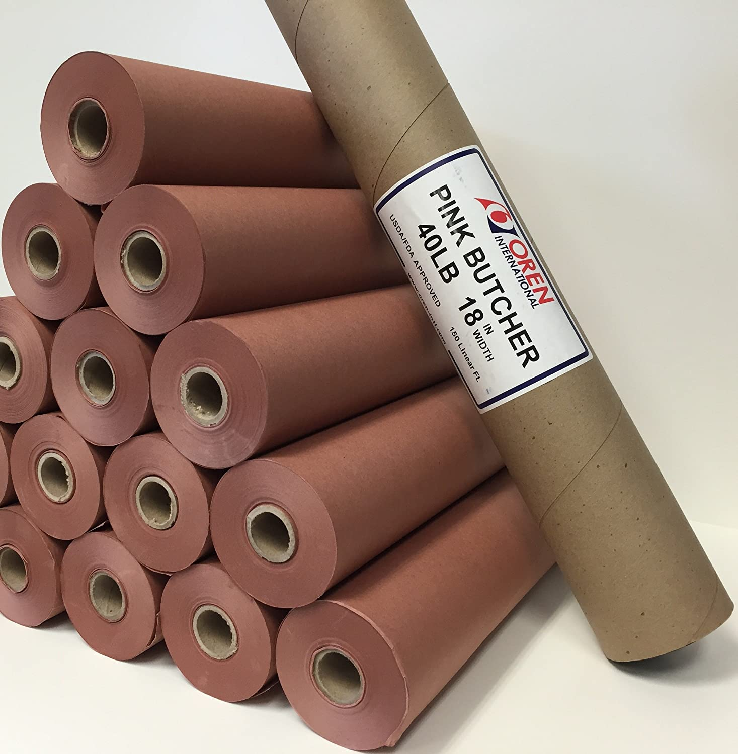 "Pink/Peach Butcher Paper Roll 18"" X 150"