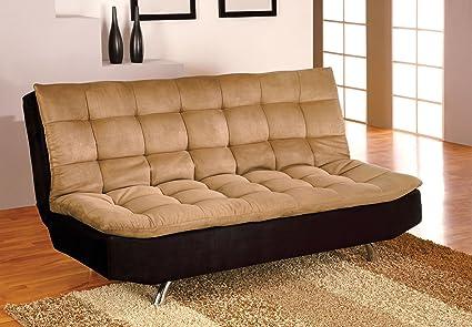Furniture of America Velma Duotone Microfiber Futon Sofa, Camel/Black Finish