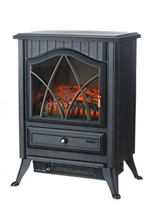 VonHaus 1500W Portable Electric Stove Heater Fireplace / Space Heater with Log Burning Flame Effect