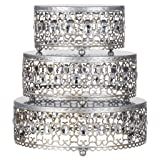 3-Piece Metal Cake Stand Risers Set with Crystal Rhinestones (Silver) (Color: Silver)