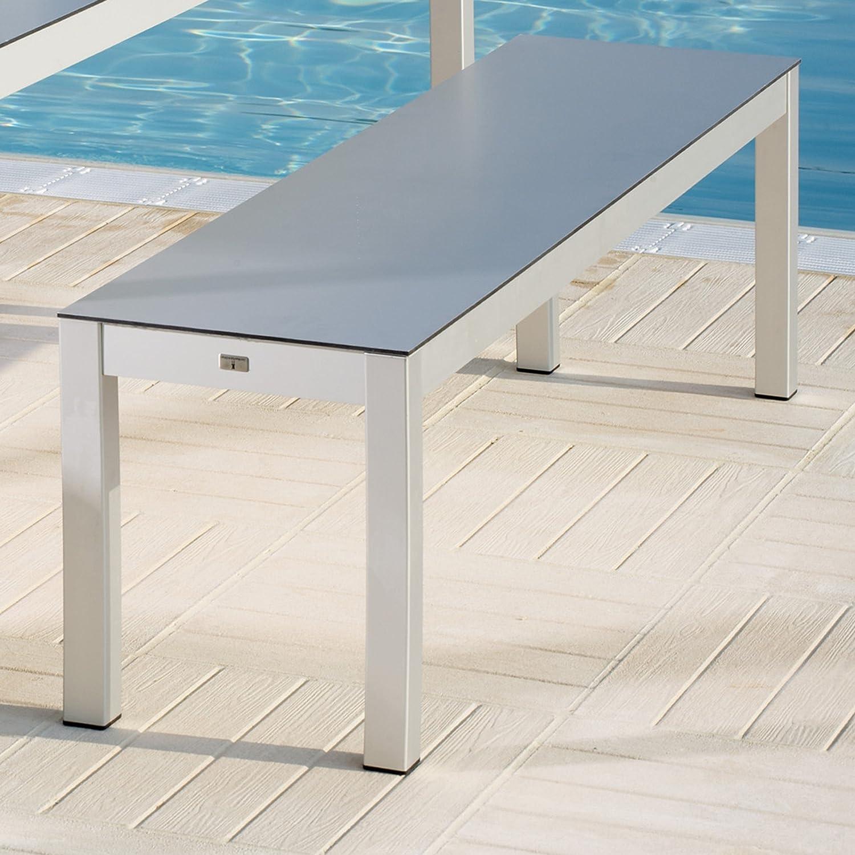 Quadrat Bank - Gestell Aluminium eloxiert / Platte Alucobond - 165 x 40 cm