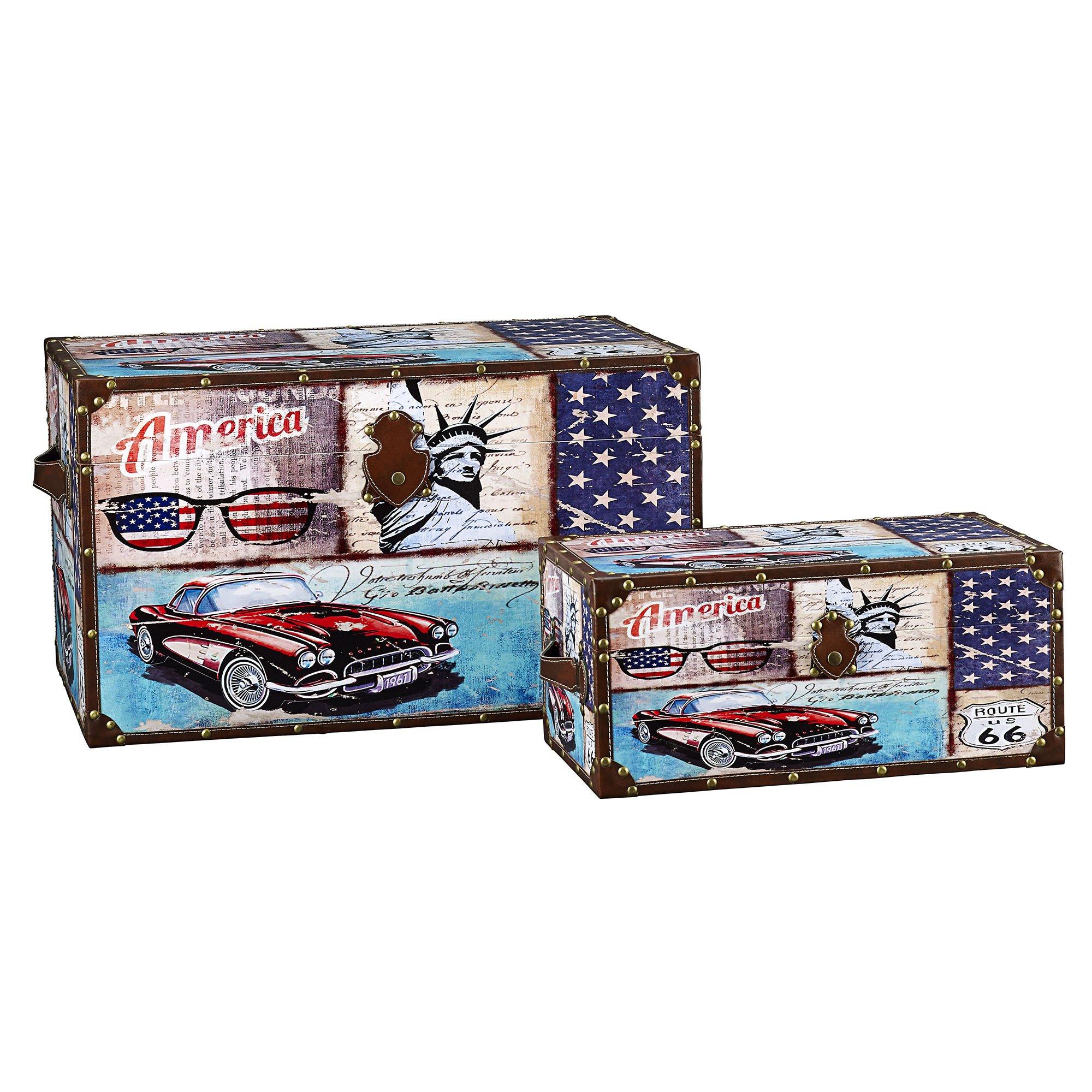 Household Essentials Decorative Storage Trunk Classic Americana Vintage Car Design Set Of 2