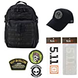 5.11 Kits RUSH24 Tactical Backpack 37L, Hat, Patches, and Decals Set - Army/Military and Tactical Gear Pack - Black