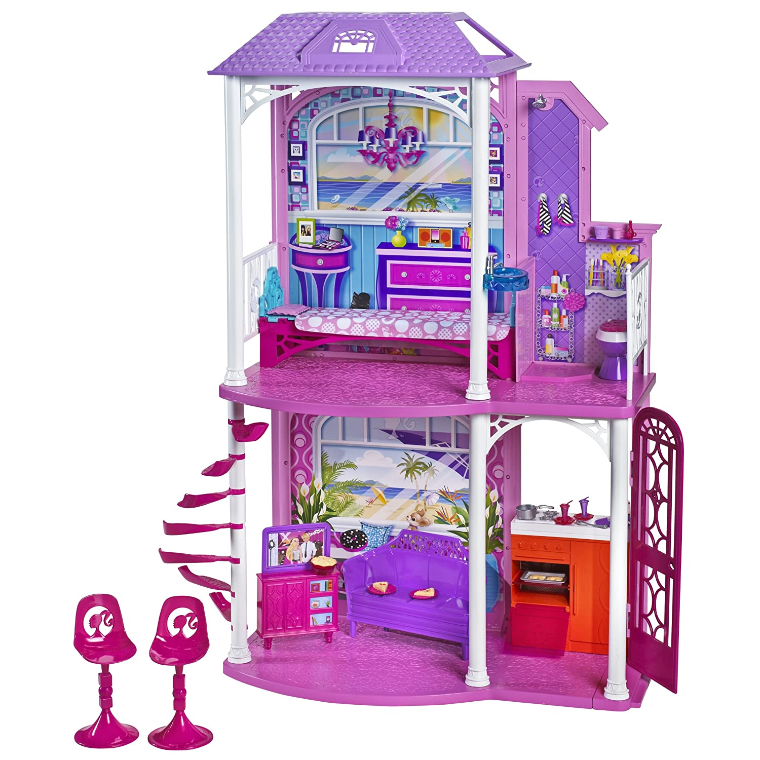 Mattel Barbie Doll Dream House 2 Story Vacation Home