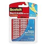 Scotch Restickable Mini Tabs, 0.5-inch x 0.5-inch, Clear, 72-Tabs (R103)