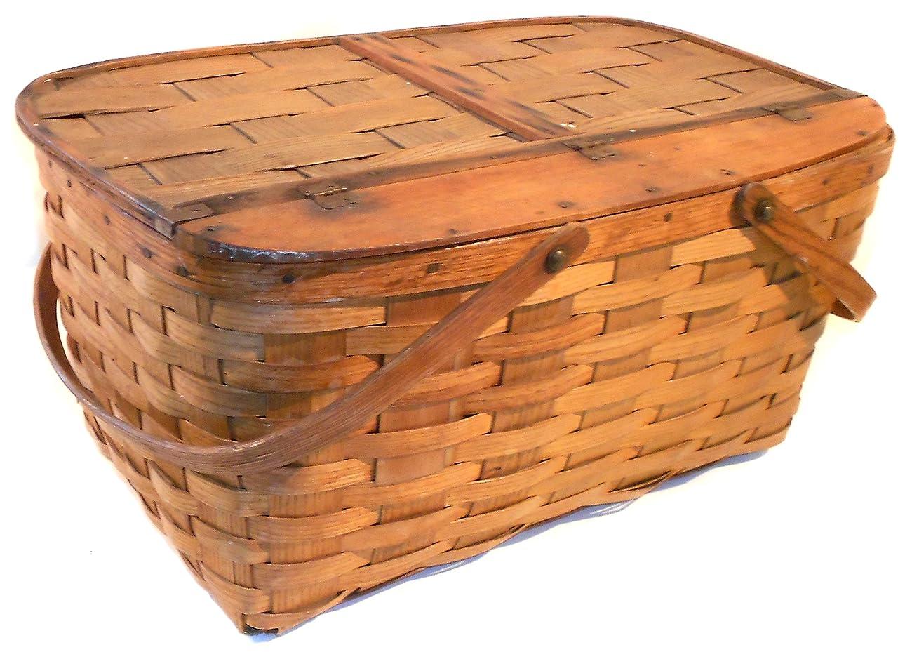 Great Old Vintage Primitive Oak Woven Oak Splint Picnic Basket 1