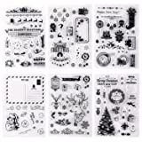 Whaline 6 Sheets Christmas Theme Silicone Clear Stamps Seal Blocks for Card Making Scrapbooking Decoration Words Journaling DIY Album (Color: Style 4)