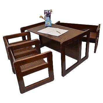 Set Mobili Multifunzionali 3 In 1 Set 4 pezzi, Due Sedie Multifunzionali O Tavolini, Una Banchina Grande Multifunzionale E Una Banchina Piccole Per Bambini, O Tavolo Oppure Quatro Di Tavolini Da Caffè In Faggio Colore Scura