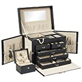 Best Choice Products Leather Jewelry Box Organizer Storage With Mini Travel Case