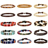 LOYALLOOK 15pcs Men Women Linen Hemp Cords Wood Beads Ethnic Tribal Bracelets Leather Wristbands 15PCS (Color: Black)