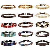 LOYALLOOK 15pcs Men Women Linen Hemp Cords Wood Beads Ethnic Tribal Bracelets Leather Wristbands 15PCS (Color: Black)