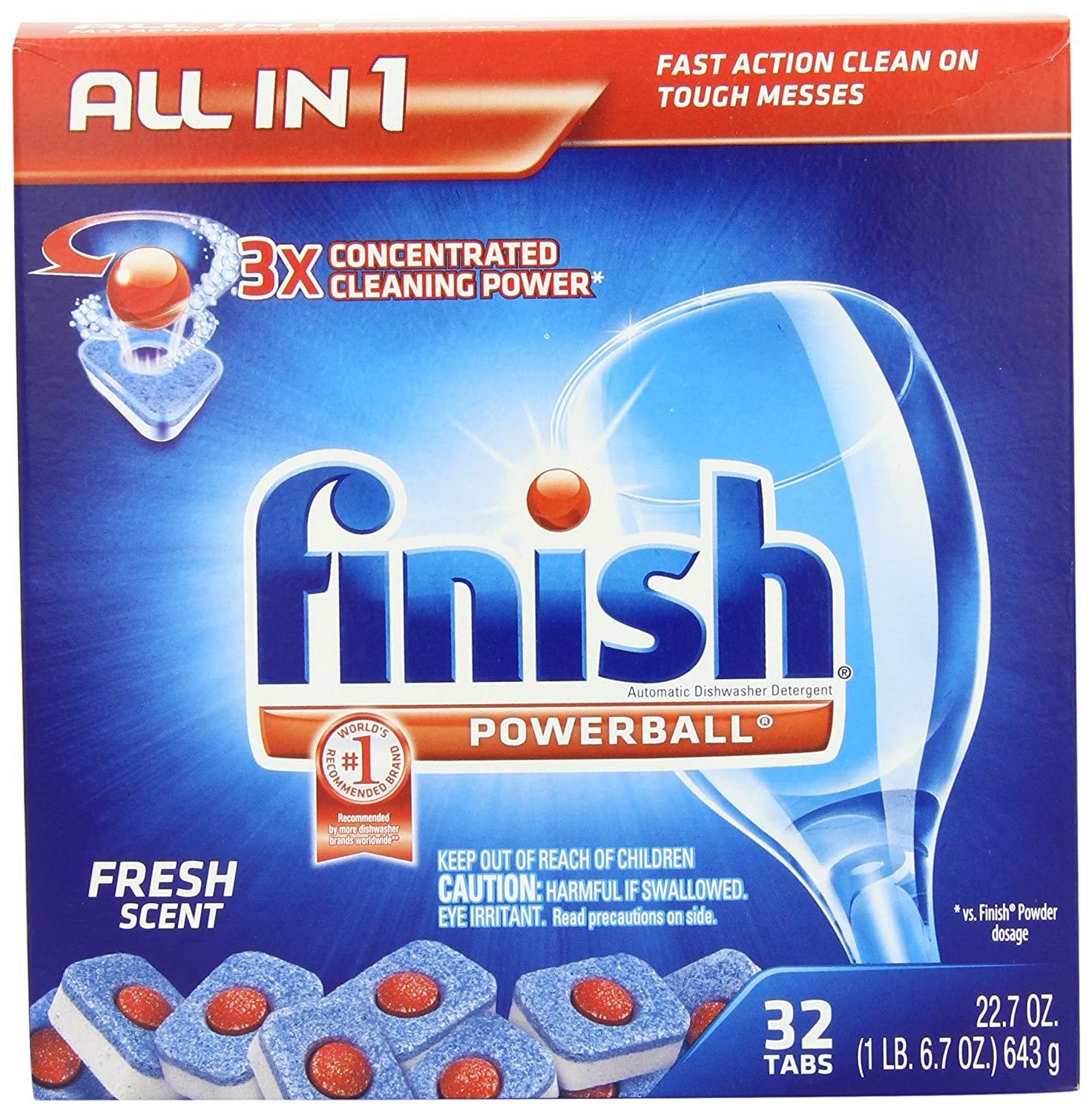 Finish Powerball Tabs Dishwasher Detergent, Fresh Scent, 32-Count $3.52