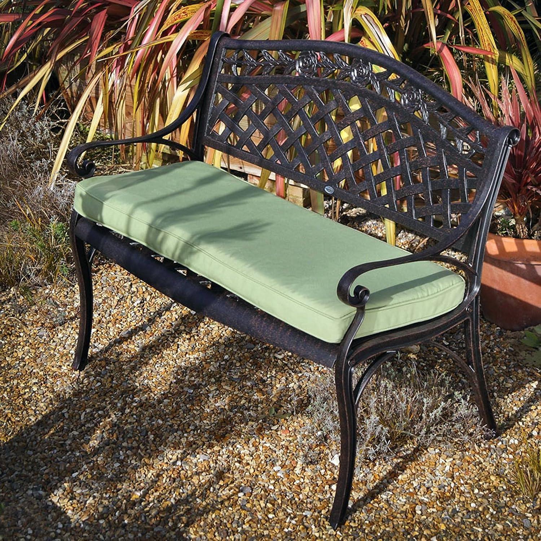 Lazy Susan – ROSE Gartenbank aus Aluminium, Antik Bronze (Grünes Kissen) günstig online kaufen
