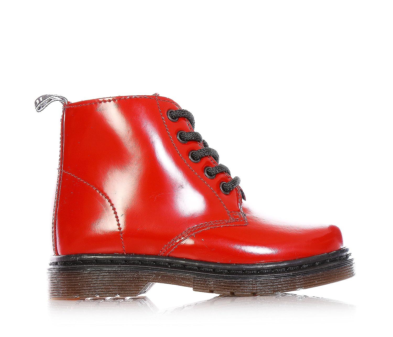 CULT - Rote Stiefel mit Schnürsenkel, aus Glanzleder, seitlich ein Reißverschluss, jungen,jungs,kind