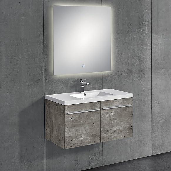[neu.haus] Mobile da bagno color cemento con lavabo e specchio 60x60 cm