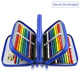 YOUSHARES 72 Slots Pencil Case - Handy Large Capacity Oxford Multi-Layer Zipper Pencil Bag for Color Pen, Colored Pencils, Watercolor Pens, Makeup Brush, Cosmetic Brushes, Gel Pen and More (Blue) (Color: Blue)