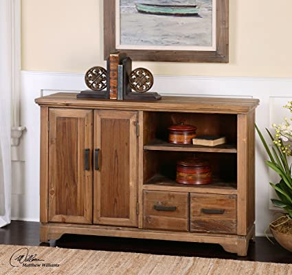 Knotty Pine Media Center Solid Wood | Antiqued TV Console Cabinet