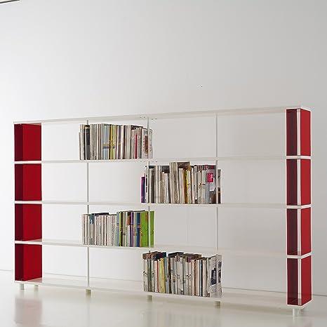 Bibliothèque SKAFFA Design Modulables étagères de rangement blanc Cm.300 x 171 x 30