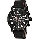 Wenger Men's 'Attitude Chrono' Swiss Quartz Stainless Steel and Leather Casual Watch, Color:Black (Model: 01.0343.104) (Color: Black Dial, Black Leather Strap)
