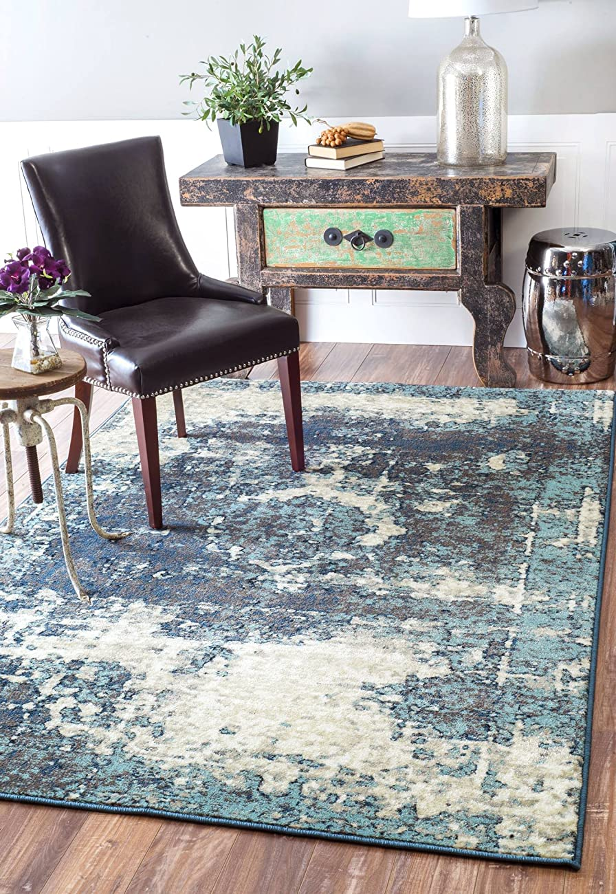 Traditional Vintage Inspired Overdyed Distressed Fancy Blue Area Rugs, 7 Feet 10 Inches Square (7' 10