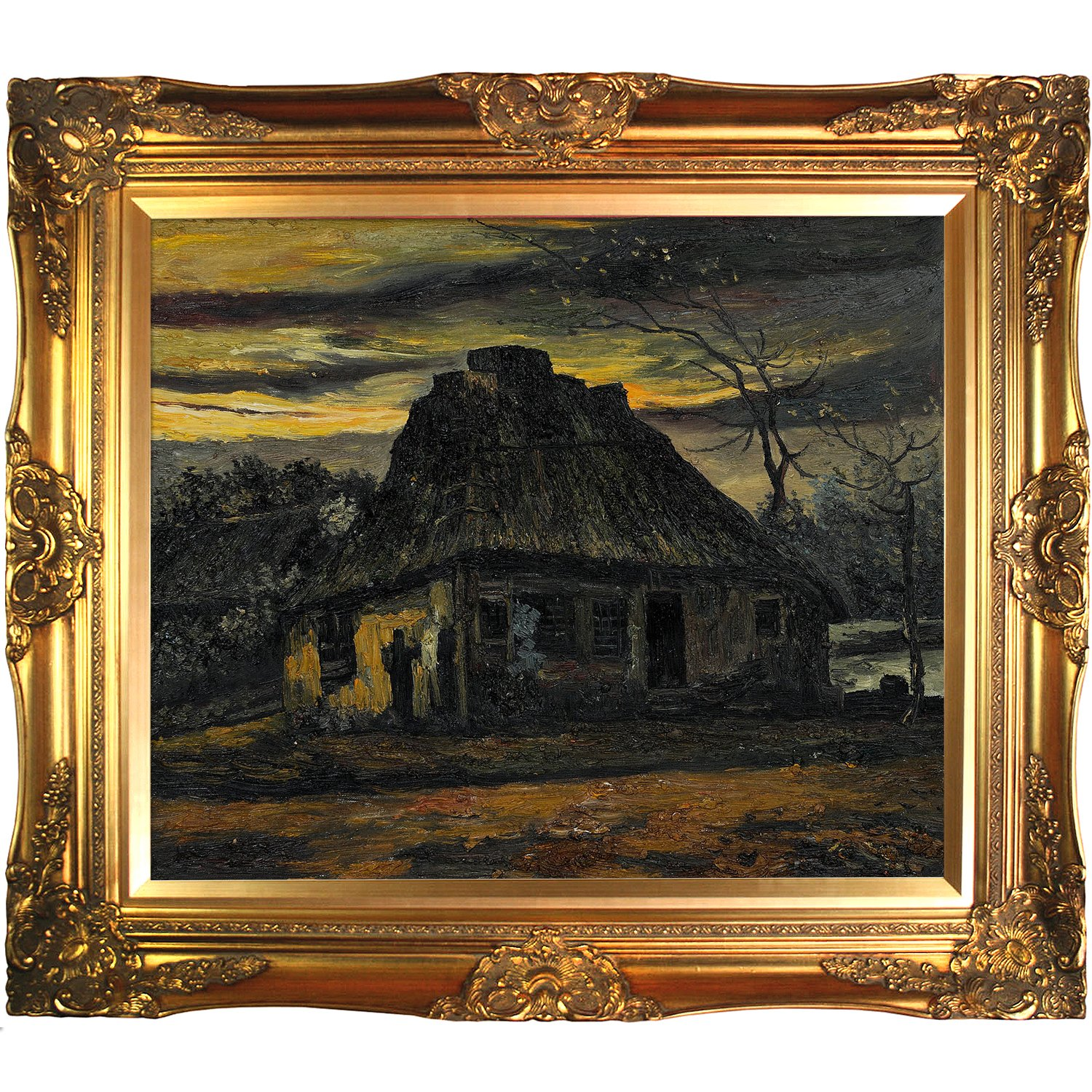 ... Gogh The Cottage 1885 Painting with Victorian Gold Frame, Gold Finish