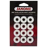 Janome 12 Pack Pre-Wound Plastic Bobbins White Thread (Color: white)