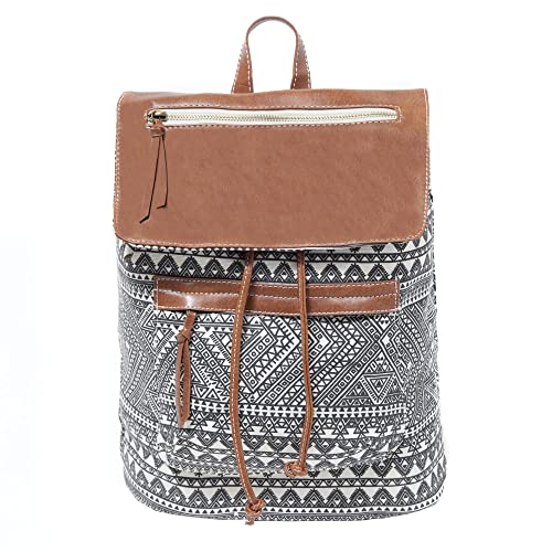 Aztec Print Canvas with Brown Faux Leather Backpack for Men or Women