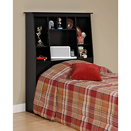 Broadway Black Twin Tall Slant-back Bookcase Headboard. Get Big Storage in Any Bedroom with This Eight Storage Compartments with Bedside Books, Knick-knacks and Whatever Else You Can Fit in Their Various Sizes.