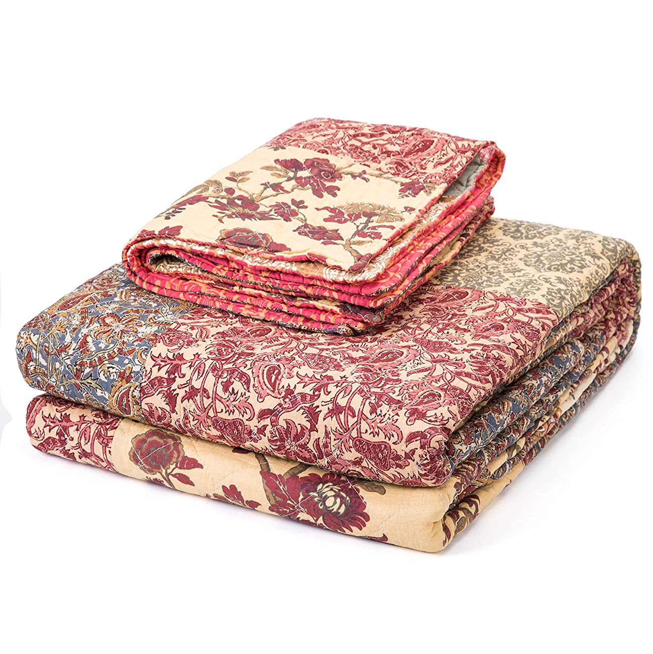 Luxury Retro Floral Stitching Cotton Patchwork Bedspread Sets Quilt Queen Size 6