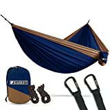 Bear Butt Lightweight Double Camping Parachute Hammock-Large, Portable Two-Person Hammock for Hiking & Backpacking - 16 Colors Available (Dark Blue/Beige)