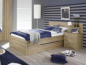 Bett 90 x 200 cm mit Nachtkommode Eiche Sonoma
