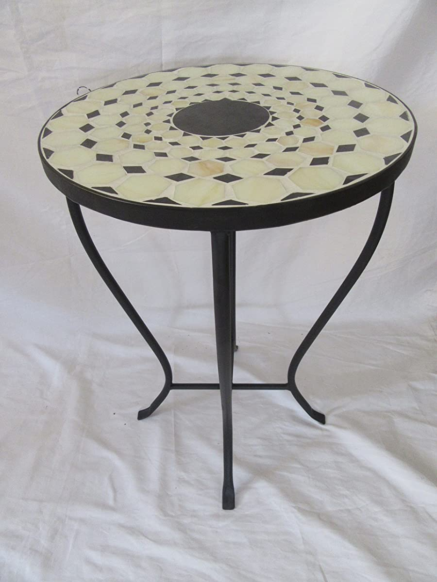 "Beige / Black Mosaic Black Iron Outdoor Accent Table 21""H"