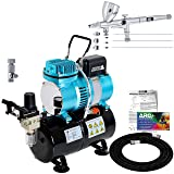Master Airbrush Cool Runner II Dual Fan Air Storage Tank Compressor System Kit with a G444 Fine Detail Control Gravity Feed Dual-Action Airbrush Pro Set with 0.2, 0.3, 0.5 mm Tips, How-To Guide, Hobby