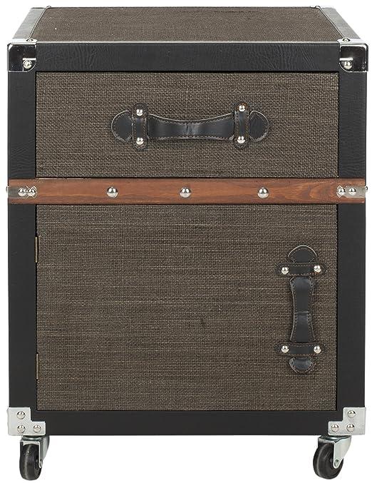 Safavieh Amala-Cassettiera, legno, colore: nero/marrone/argento
