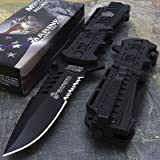 Mtech USA USMC Marines Black Spring Assisted Opening Tactical Rescue Folding Pocket Knife (Color: Multi)
