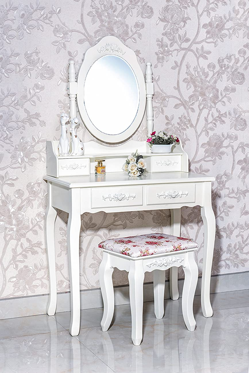 Gorgeous White Label Nefertiti Vanity Table with free stool (4 Drawer) 0