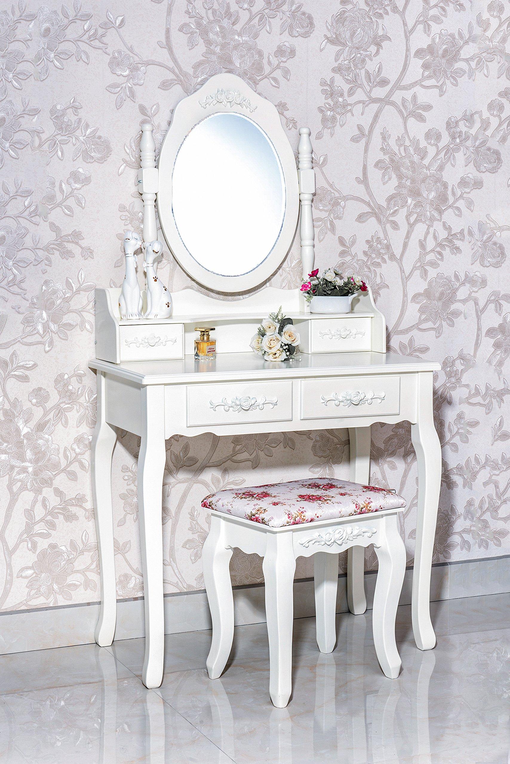 Gorgeous White Label Nefertiti Vanity Table With Free