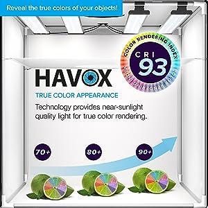 HAVOX - Photo Studio HPB-60XD - Dimension 24x24x24 - Super Bright Dimmable LED Lighting 5500k - 26,000 lumens - CRI 93 - Make Your Commercial Photos e-Commerce (Tamaño: HPB-60XD (24'x24'x24'))