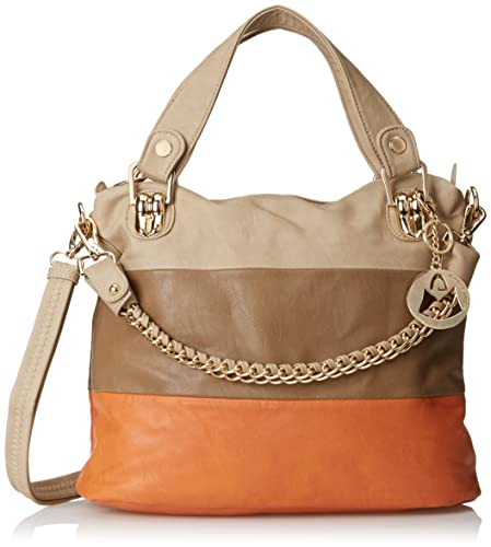 MG Collection Ece Tri-Tone Hobo Handbag, Beige, One Size