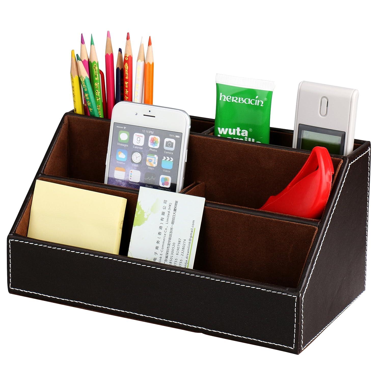 HOMETEK™ 5 Compartment Desk Organizer Pen Pencil Caddy Desktop Organizer Media/Card/Remote Control Holder Organizer PU Leather Office Supplies (Brown)