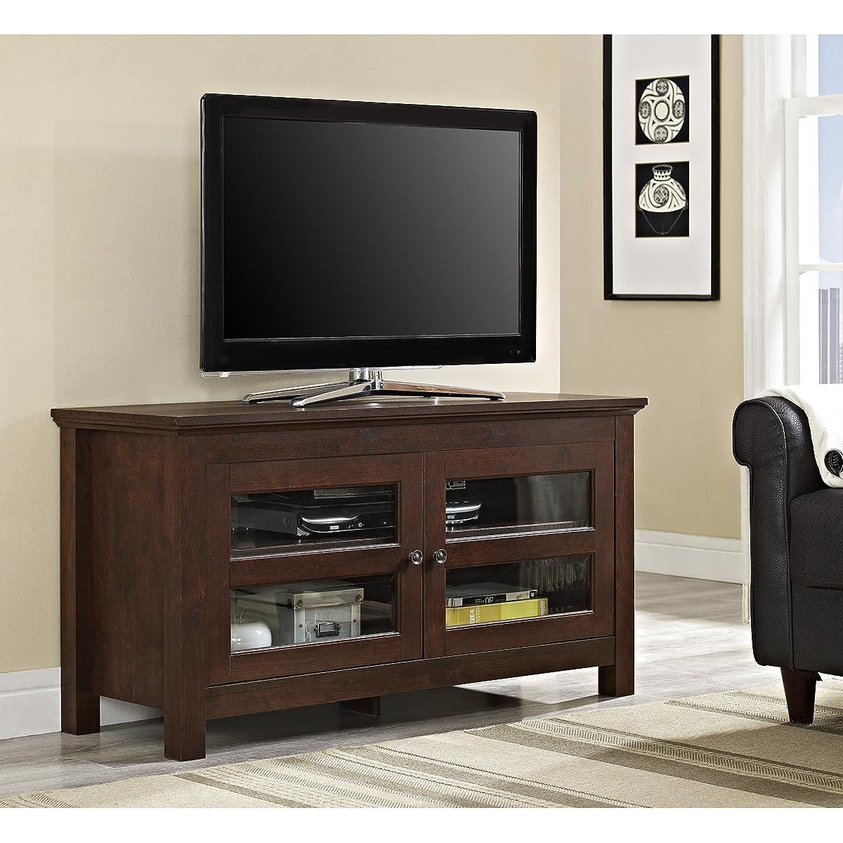 """Walker Edison 44"""" Coronado TV Stand Console, Brown"""