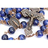 Large Genuine Lapis and Copper 10mm 5 Decade Natural Stone Bead Rosary Made in Oklahoma (Color: Blue, Gold, Copper,)