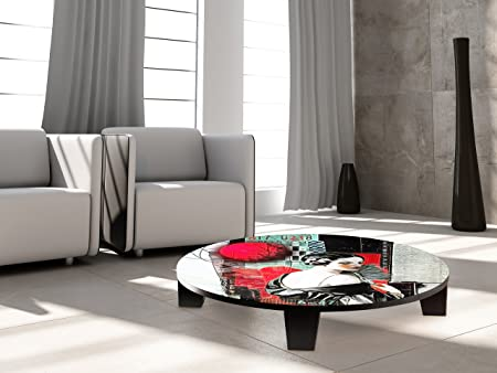 """TAF DECOR """"Echoes of Yesterday"""" Art Coffee Table, 35"""" X 35"""" X 7.5"""", Multicolored"""